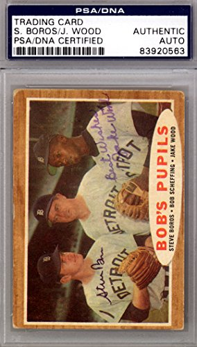 - Steve Boros & Jake Wood Autographed 1962 Topps Card #72 Detroit Tigers PSA/DNA #83920563