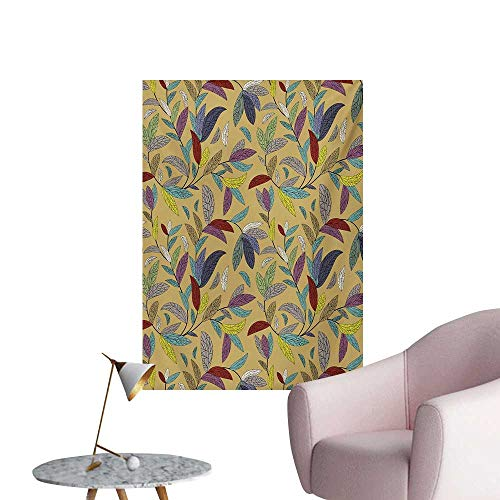 ParadiseDecor Flower Photographic Wallpaper Colorful Sketchy Hand Drawn Plants Leaves Swirls Nature Themed Khaki Backdrop PrintMulticolor W32 xL36 The Office Poster ()