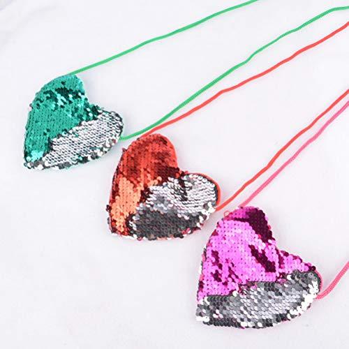 Bandolera En Corazón De Forma rosy Sequin Fenical Pures Coin Para Silver Niños qFIx7t4