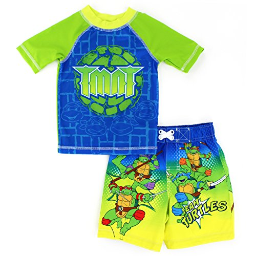 DC Comics Marvel Nickelodeon Rash Guard and Trunks Swimwear Set (2T, TMNT Green)