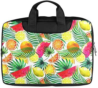 13 Inch Tropical Watercolor Fruits Seamless Tropic Briefcase Laptop for Men with Handle Lightweight Mens Laptop Carrying Case Fits MacBook Air Pro
