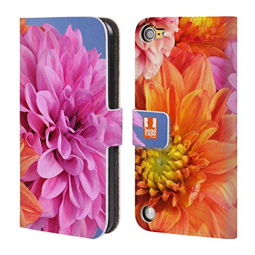 Head Case Designs Dalie Arancioni E Rosa Fiori Cover a portafoglio in pelle per iPod Touch 5th Gen / 6th Gen