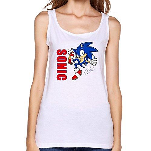 ZhaoHui Cheap Brand New Female O-Neck Sonic The Hedgehog Act Tank T-shirt XL White (Female Sonic The Hedgehog)