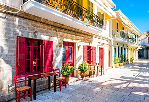 Street Old House (Laeacco Colorful Old House Street View Backdrop 10x8ft Photography Background Greece Town Blue Sky Weeding Holiday Indoor Decors Wallpaper Children Kid Adults Portraits Photo Shooting Studio Props)