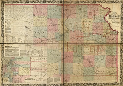 1867 Railroad map of RRs, Kansas A new sectional of the state of Kansas - Online Gift Sell Cards Canada