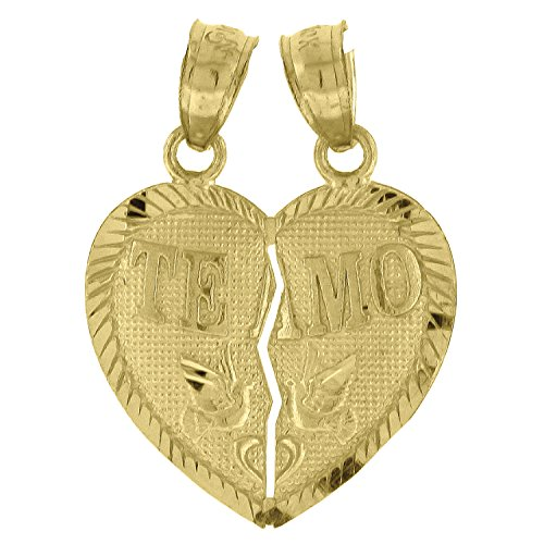 10kt Yellow Gold Womens Two (2) Piece Break-Apart Teamo Heart Fashion Charm Pendant