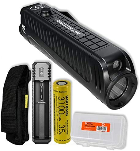 Nitecore P18 1800 Lumen Compact Flashlight with Silent Tactical Switch and Auxiliary Red LED with Rechargeable Battery, Battery Charger and LumenTac Battery Organizer