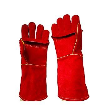 RFVBNM guantes de Soldadura/Doble Cuero Largo Resistente al Desgaste Resistentes a los Guantes de Trabajo Marinos/Guantes de Barbacoa de microondas, Rojo: ...