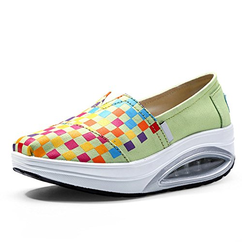 CYBLING Spring Summer Platform Wedge Travel Sneaker For Women Exercise Slip On Sport Shoes Light Green ZzZSxVfH