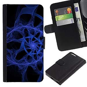 Paccase / Billetera de Cuero Caso del tirón Titular de la tarjeta Carcasa Funda para - Abstract Blue Spiral - Apple Iphone 6 PLUS 5.5