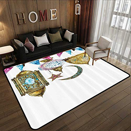Throw Rugs,Lantern Decor Collection,Traditional Arabic Lanterns with Star and Moon Shapes Original Oriental Illustration,Gold Pink 35