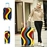 yazi Fashion Luggage Bag Washable Dust Proof Travel Suitcase Protector Cover Colorful Stripe S 18-20 Inch