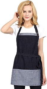 JYPHM Cotton Denim Apron Kitchen Apron with Pockets for Women and Men Restaurant and Home Professional Chef Adjustable Bib Apron Denim Color