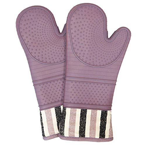 istant 550 Degree Oven mitt, Silicone Oven Hot Mitts - 1 Pair, Extra Long Professional Baking Oven Gloves - Food Safe,Pot Holders Cooking,Grilling,Kitchen (Purple) ()