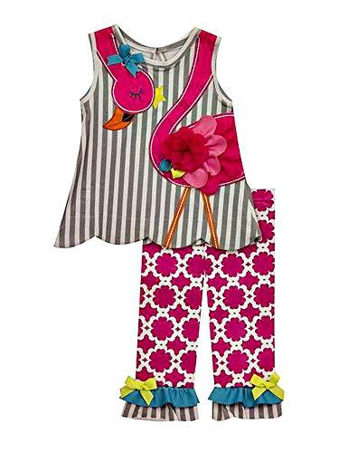 - Rare Editions Gray Stripe Flamingo Fuchsia Capri Set (4)