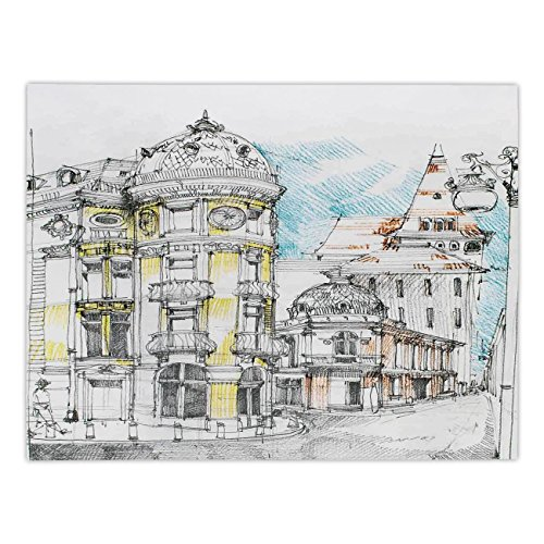 (Polyester Rectangular Tablecloth,Medieval Decor,Pale Sketch Design of Middle Age Renaissance Building in European Old Town Cityscape,Multi,Dining Room Kitchen Picnic Table Cloth Cover,for Outdoor Indo)