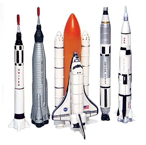 (Echo Toys Spaceship Rocket Set - 5 Piece Space Program NASA Collector's Set - Mercury, Gemini, Apollo, Saturn Rockets And Space Shuttles)