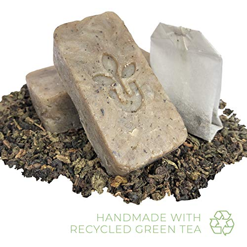 Handmade Natural Green Tea Soap Skin Care Gift Set - Cocoa Shea Butter - Face Hand Body Bath Accessories Anti Aging Cleanser - Men Women - 3 Soaps 2oz Bar Gifts - Rejuvenating Toner - Gentle Scent