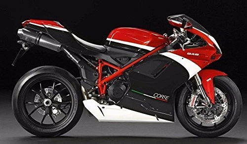 FocusAtOne White Red Black Complete Fairing Bodywork ABS Painted Plastic Injection Molding Kit for 2007-2012 07-12 2008 2009 2010 2011 Ducati 848 EVO Corse SE Tricolore 1098 RTB 1198 S