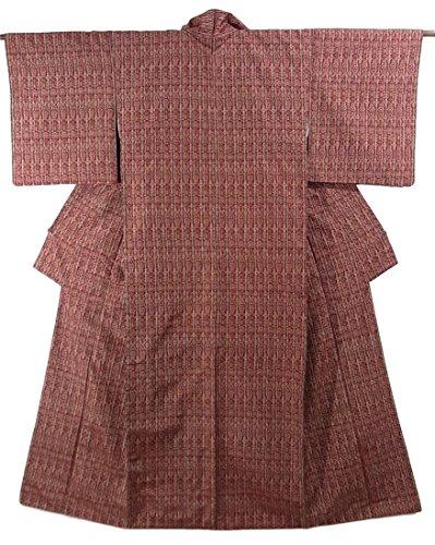 リサイクル 着物 紬 縞に幾何学模様 正絹 袷 裄65cm 身丈162cm