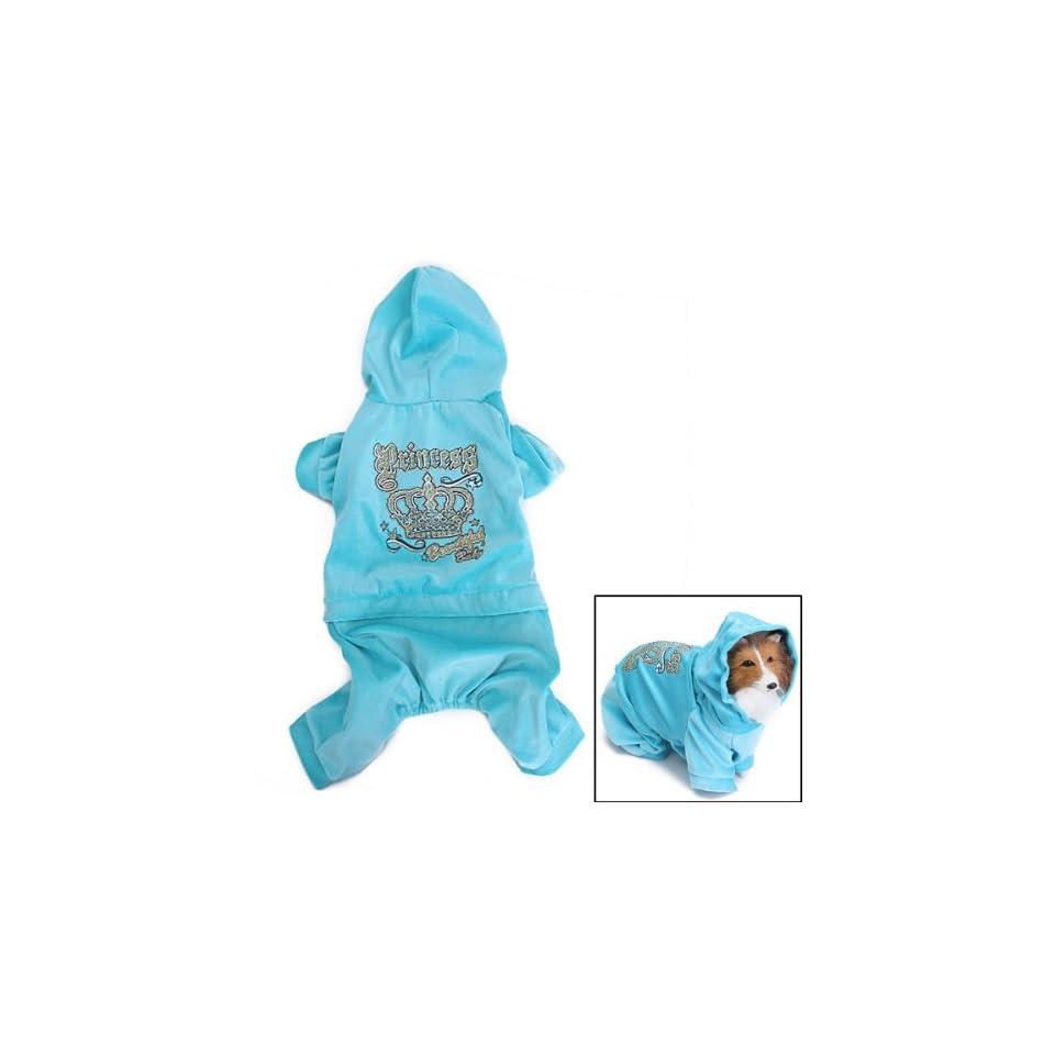 Pet Dog Hoodie Autumn Coat Velour Jumpsuit Clothes Apparel Blue (XL)