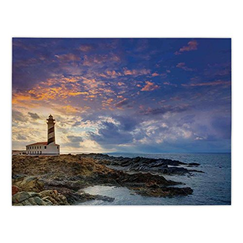 - Polyester Rectangular Tablecloth,Lighthouse Decor,Cap de Favaritx Sunset Lighthouse Cape in Mahon at Balearic Islands of Spain Coast,,Dining Room Kitchen Picnic Table Cloth Cover,for Outdoor Indoor
