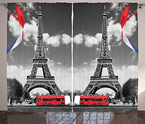 Eiffel Tower Paris Decor for Bedroom Digital Print Curtains City Decor Bedroom Living Room Decorations Accessories French Style Paris Curtain Two Panels Set 108 x 90 Inches, Red Teal White Gray