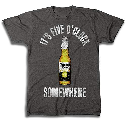 (Corona Extra Beer Mens Corona Beer Label Shirt Logo Shirt - Corona Graphic Shirt (Charcoal Heather,)