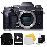 Fujifilm X-T1 Graphite Silver Mirrorless Digital Camera 16GB Bundle - Camera with Lens, 16GB SD Memory Card, Compact Deluxe Gadget Bag, Micro Fiber Cloth, and 3pc. Lens Cleaning Kit
