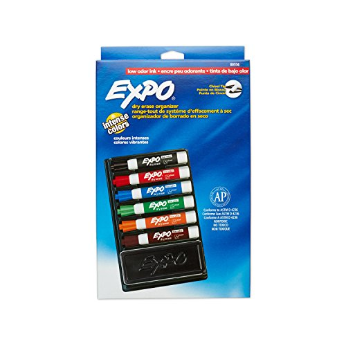 Amazon.com : Expo Low-Odor Dry Erase Set, Chisel Tip, 7-Piece ...