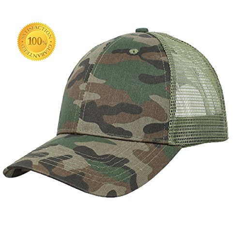 Low Profile Baseball Cap Ventilated Caps Snapback Mesh Unisex Women Men Sun hat Plain Camo Adjustable Quick-Drying Basics Dad Camouflage Cap (Camouflage + Light Green Grid) ()