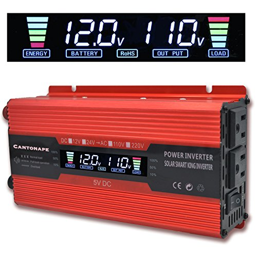 Cantonape 700W/1500W(Peak) Car Power Inverter DC 12V to 110V AC Converter with LCD Display Dual AC Outlets Comapct Size and 2A USB Car Charger for Car Home Laptop -