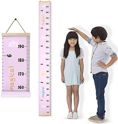 Growth Chart, DodoBee Growth Chart for Kids, Protable Wood Frame Fabric Canvas Growth Chart for Classroom, Easy to Install & Remove Kids Growth Chart, Growth Chart for Boys and girls (7.9 x 79 in)