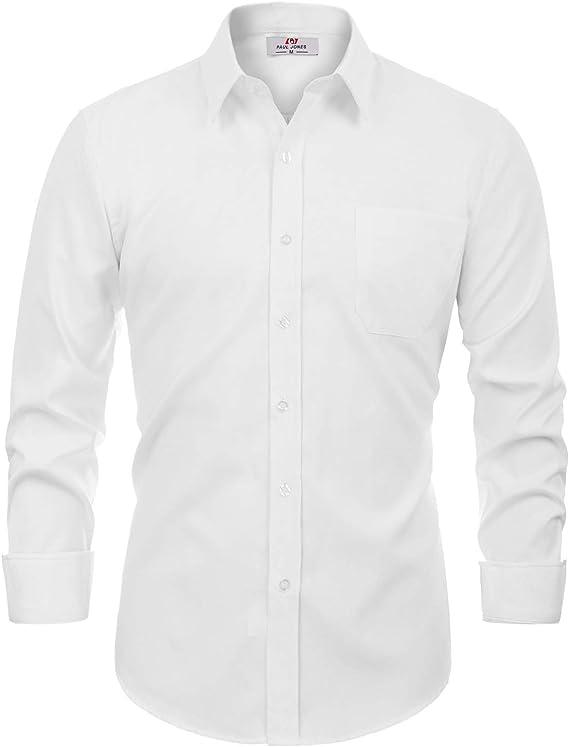 Men's White Oxford Shirt Long Sleeve Button Down Shirt Size M White