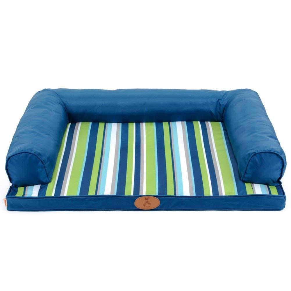 L(1208920CM) HeiPlaine Pet Sofa Cat Dog Pet Bed U Type Stripe Pet Mat bluee Removable Cleaning 3 Size Can Be Selected (Size   M(89  68  20CM)) (Size   L(120  89  20CM))