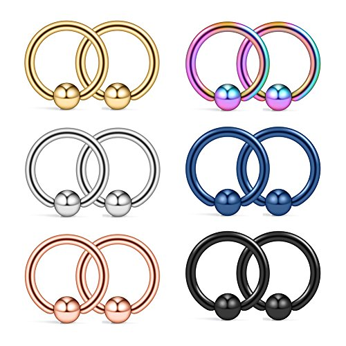 Ruifan 12PCS 316L Surgical Steel Captive Bead Rings Nose PA Belly Eyebrow Tragus Lip Ear Nipple Hoop Ring BCR 12G 10MM