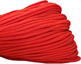 550 Paracord / Parachute Cord, 100 Metters(328 feet), 800 lb Tensile Strength, Type III Paracord, 7 100% Nylon Core Strands Each Twisted from 3 Individual Strands, 5/32''(4mm) Diameter TrueRed