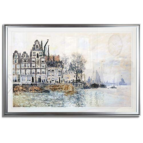 Monet Wall Art Collection View of Amsterdam, 1874 by Claude Monet Fine Giclee Prints Wall Art in Premium Quality Framed Ready to Hang 24X34, Silver