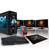 Fierce NYX Quake Champions High-End RGB Gaming PC Desktop Computer Bundle - Fast 3.4GHz Quad-Core AMD Ryzen 3 1200, 240GB Solid State Drive, 2TB Hard Drive, 8GB of 2133MHz DDR4 RAM / Memory, AMD Radeon RX 570 4GB, Gigabyte AB350M-Gaming 3 Motherboard, GameMax Obsidian with 'Quake Champions' NYX HD Armour RGB Case, HDMI, USB3, Wi - Fi, Perfect for High-End Gaming, Windows 10 Installed, Keyboard and Mouse, 3x 21.5-Inch Monitors, Gaming Headset, 3 Year Warranty 772008