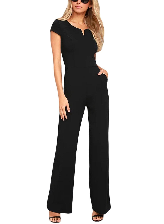 35cf3ea2df12 Amazon.com  HOTAPEI Women Short Sleeve V Neck Jumpsuits High Waist Wide Leg  Long Romper Pants  Clothing