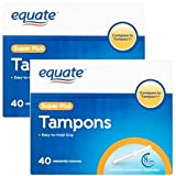 Equate Tampons, Super Plus, Unscented, 40 Ct (Pack of 2)