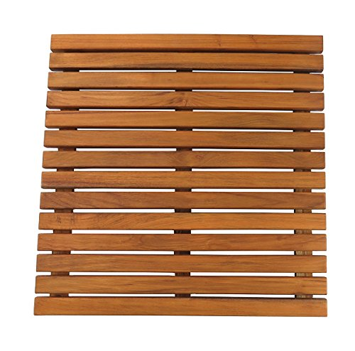 SeaTeak 60021 Teak Shower or Door Mat, Oiled Finish, Square
