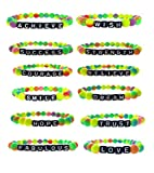 FROG SAC Rave Kandi Bracelets for Women Girls Teens - Stretch Candy Bracelet Set of 12 EDM - Accessories for Festivals - Plur Jewelry - Great Party Favors