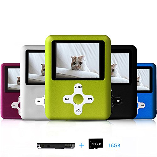 Lecmal Portable MP3 Player MP4 Player with 16Gb Micro SD Card and FM Radio Function, Economic Multifunctional Music Player with Mini USB Port, Mp3 Voice Recorder, Media Player for Kids (Viridian)