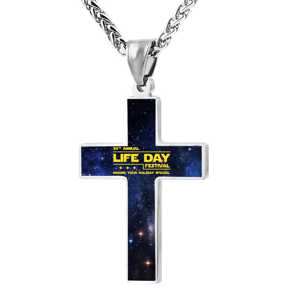 Brniogn Cross Necklace,39th Annual Life Day Festival Making Your Holiday Pattern Prayer Christ Necklace Pendant Custom 24 Inch