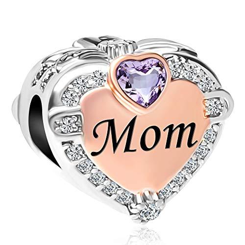CharmSStory Rose Gold Mom Heart Love Charm Bead for Bracelets (June)