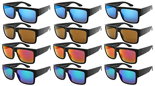 Edge I-Wear 12-Pack Men Women Plastic Square Sunglasses with Mirrored Lens - On Based Shape Sunglasses Face