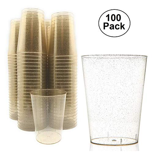 10 Ounce Clear Gold Glitter Disposable Plastic Cups (100 Count) – BPA-Free, Durable, Ideal for Home, Office, or Business, Wedding, Bridal Shower, Baby Shower, Gold Glitter -