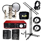 Home Recording Studio Bundle CAD GXL2200SSP MH110 Stands Focusrite Scarlett 2i2 (2nd GEN) Samson Media ONE BT3 Speakers