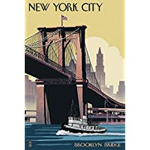 New York City, New York - Brooklyn Bridge (12x18 Art Print, Wall Decor Travel Poster)